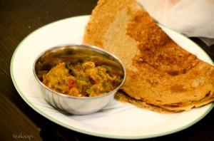 Kambu (Pearl Millet) Dosa served with Brinjal Chutney
