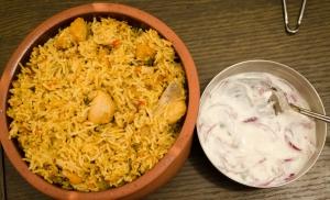 Chicken DUm Briyani and Onion Raita